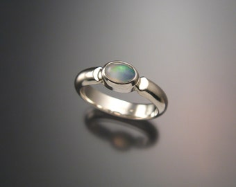 Opal Ring Sterling Silver Bezel set Crystal Opal Ring In Your Size