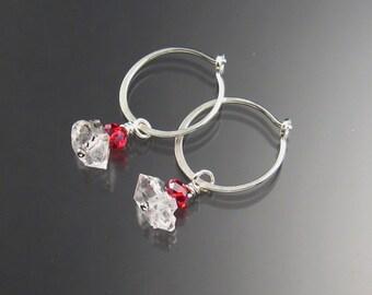 Natural Quartz Crystal Birthstone Hoop Earrings January birthstone Garnet red  Hoops in Sterling silver