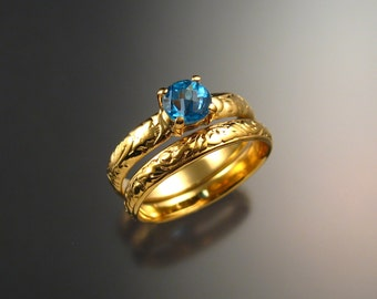 Blue Topaz Wedding set 14k Yellow Gold ring made to order in your size
