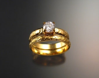 White Zircon Wedding set in 14k Yellow Gold Diamond substitute Victorian Engagement ring made to order in your size
