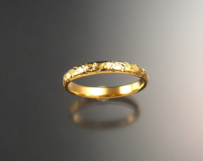 Yellow Gold wedding ring 2.7 wide x 1mm thick 14k Floral pattern Band ring made to order in your size Victorian wedding band
