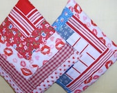 Pair POTHOLDERS Patchwork Log Cabin Half Log Cabin Red White Blue, String Quilt Designs,  Bright Scrappy Colors Traditional Americana,