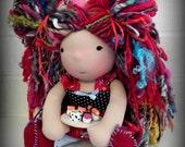 Waldorf Doll CUSTOM... 13 Inches All Natural Hand Spun Art Yarn Hair