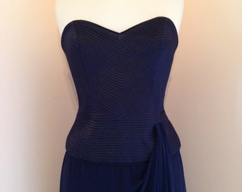 CLEARANCE 89 USD Pin Up Burlesque Style 80s Navy Vintage Strapless Wayne Clark Gown Bustier Dress