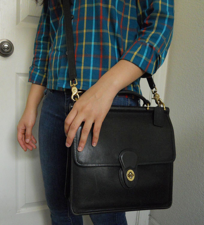 b45847e870 Vintage Black Leather Coach Willis Messenger Bag Crossbody bag Shoulder  Handbag Satchel 9927 ...