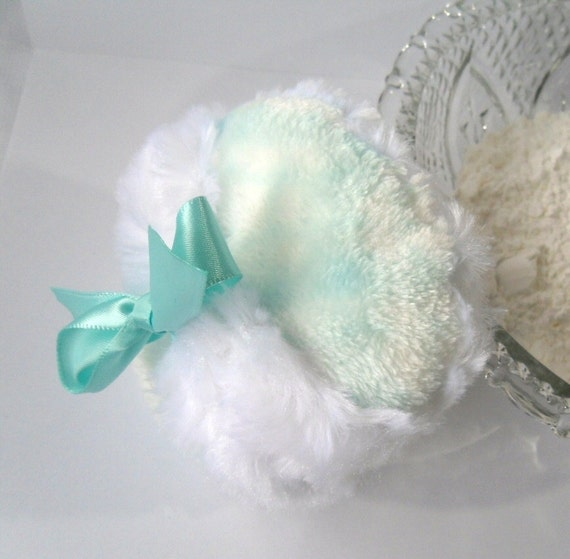 BABY BOY Powder Puff - robins egg blue - plush bath pouf - ultra soft aqua bleu - gift boxed