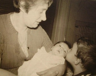 Vintage Photograph - Boy Kissing New Baby