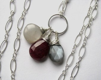 Ruby with Grey and Platinum Moonstone Necklace in Sterling Silver