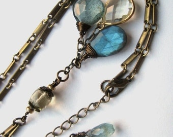 Labradorite, Moss Aquamarine and Gold Bezel Lemon Quartz Necklace