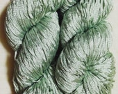 CLEARANCE -- Recycled Yarn Silver Green Nylon Ribbon Yarn  -  Lace Weight  -- Lot 551