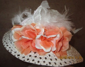 Girls Tangerine Hat  -  Tangerine Easter Hat - Church Hat - Tea Party Hat - Little Girls Easter Hat