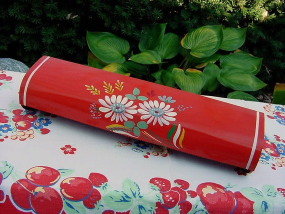 Vintage 50s Ransburg Red Retro Wax Paper Dispenser Hand