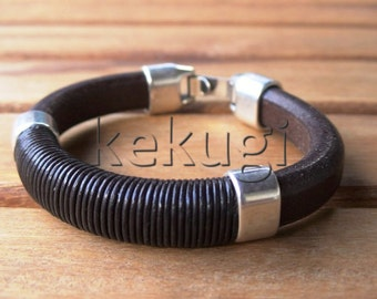men 10mm thick brown licorice leather bracelet with sterling silver plated spacer