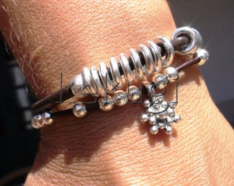 women brown leather bracelet with silver beads