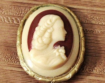 Vintage Ivory Cameo Brooch - Russian Soviet - Gold Tone Metal and Ivory Shell with Red - 1980s - from Russia / Soviet Union / USSR