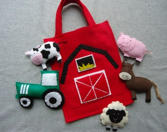 Farm Animal Stuffed Toys with Barn Bag, Includes a Cow, Horse, Sheep, Pig and Tractor