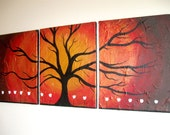"gold tree Wall art triptych ""Wildwood""  texture impasto 3 panel contemporary canvas art large painting Abstract huge 48 x 20"" tree of life"