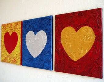 "extra large wall art huge impasto original painting sculpture heart triptych painting ""three of hearts""  3 large sizes"