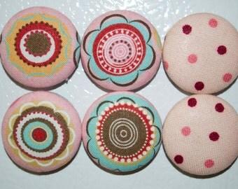 Magnets - Flower, Floral, Polka Dots - Kitchen, Refrigerator, Office - Set of 6