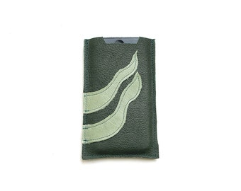 All funds are going to cat shelter - Green leather cell phone sleeve case