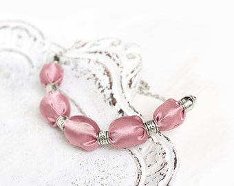 Pink  textile necklace, fabric covered necklace, fabric beaded necklace, textile jewelry, Statement Necklace, Gift for HerRose quartz