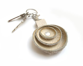 Grey leather key fob