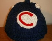 Handknit Large Toddler/Little Kid Cubs Baseball Style Cap - FREE SHIPPING