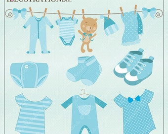 Baby Boy Clothes Cute Digital Clipart for Card Design, Scrapbooking, and Web Design