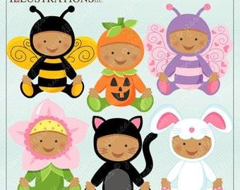 Baby In Costume V1 - Dark Skin - Cute Digital Clipart for Card Design, Scrapbooking, and Web Design