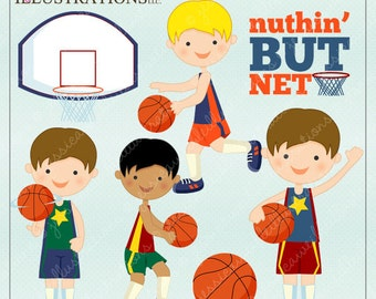 Basketball Boys Cute Digital Clipart for Card Design, Scrapbooking, and Web Design