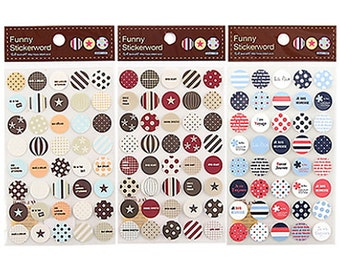 Circle Dot Point Stickers - 6 sheets (3.9 x 5.9in)