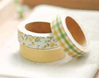 3 Set - Enfant Yellow Flower Green Check Adhesive Fabric Tapes (0.6in)