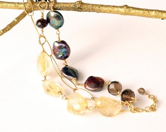 Triple Elegance Smoky Quartz, Peacock Pearls Faceted Citrine Gold Fill Wire Wrap Bracelet Fine Jewelry