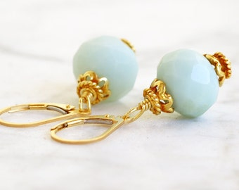 Amazonite Gold Fill Wire Wrap Earrings Fine Jewelry - Bridesmaids Jewelry