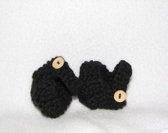 Doll Shoes / MaryJanes for 10 inch Doll Knit in Black wool - RTG - ready to go