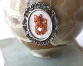 Mr. Fox- hand embroidered jewelry, woodland, vintage style necklace