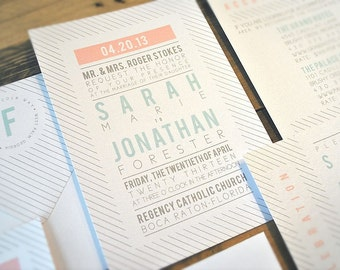 Faye Wedding Invitation Suite with Stripes - White, Grey, Aqua and Pale Pink (text and colors are customizable)