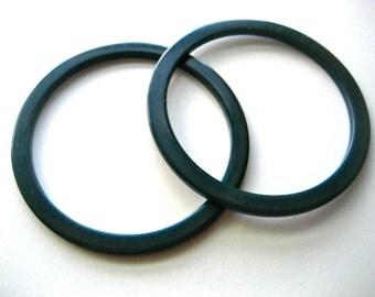 Vintage Forest Green Plastic Bracelets - Set of 2 // 1980s