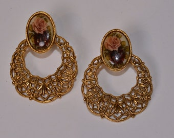 Rose Hoop Earrings Vintage Gold Hoops
