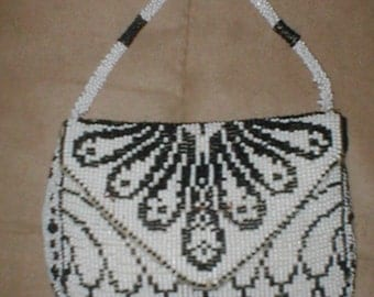 Antique Vintage Black and White Beaded Purse