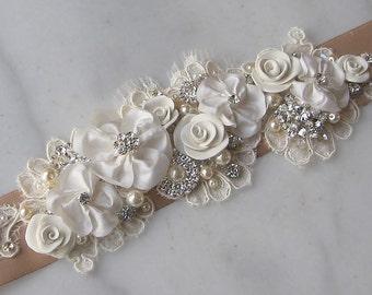 Ivory and Champagne Sash, Bridal Sash, Wedding Belt, Rhinestone and Pearl Flower Sash with Lace - BROOKE