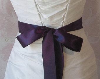 Double Face Dark Royal Purple Satin Ribbon, 1.5 Inch Wide, Ribbon Sash Eggplant Purple, Bridal Sash, Wedding Belt, 4 Yards
