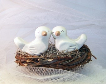 Bird Wedding Cake Topper LoveBirds - Cute Wedding Decor - Choice of Colors