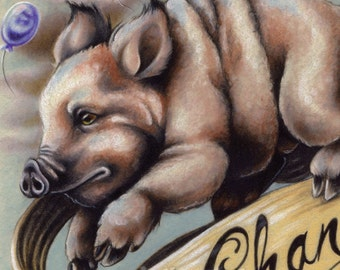 """Flying Pig & Balloons Illustration Giclee Print - """"Fat Chance"""""""