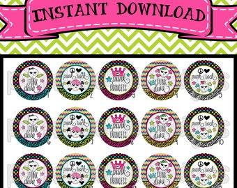 "Punk Diva - Colorful Girly Skulls - INSTANT DOWNLOAD 1"" Bottle Cap Images 4x6 - 416"