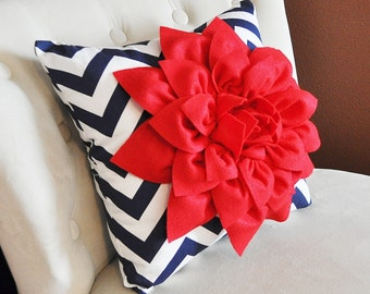 Red Dahlia on Navy Blue and White Zigzag Pillow -4th of July Decor- Patriotic Decor- Red White and Blue American Flag Pillows USA Decor