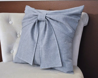 Grey Nursery Grey Big Bow Pillow -16 x 16- Throw Pillow