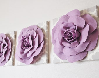 "Wall Decor Set of Three -Lilac Roses on Neutral Gray Tarika Print 12 x12"" Canvas Wall Art- Flower Nursery Decor Set"