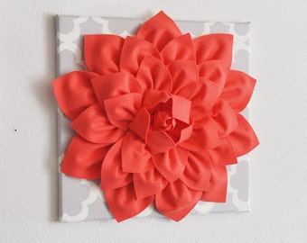 Large Coral Flower on Neutral Gray Tarika Wall Hanging -Flower Wall Decor-