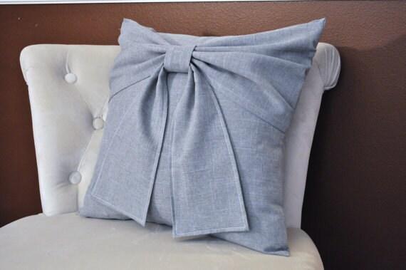 Grey Nursery Grey Big Bow Pillow -16 x 16- Throw Pillow